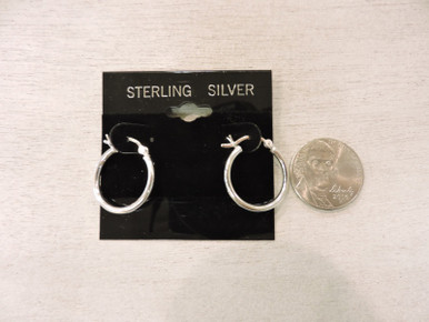 Sterling Silver Hoop Earring compared to a nickel