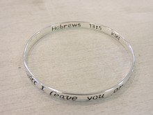 Hebrews 13:5 scripture engraved in bracelet