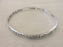 Prov. 17:17 engraved inside of bracelet