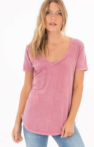 Z Supply distressed pink pocket tee