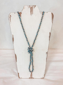 Silver and Blue Beaded Necklace