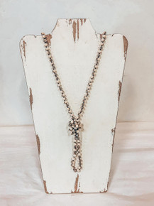 Brown and Cream Beaded Necklace