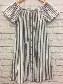 Grey amd white striped dress