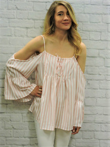 Pink and white striped off shoulders