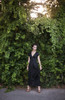 Black silk maxi dress with a plunging neckline.  Made in the USA by evangeline clothing.