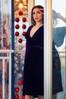 Deep plum silk velvet midi dress made in the USA by evangeline clothing