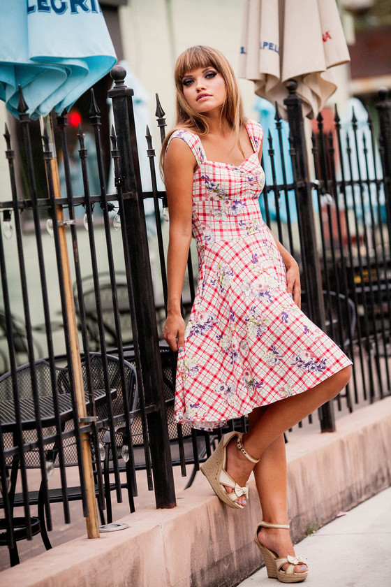 Red gingham midi circle dress with plaid floral print.  Made in the USA by evangeline clothing.