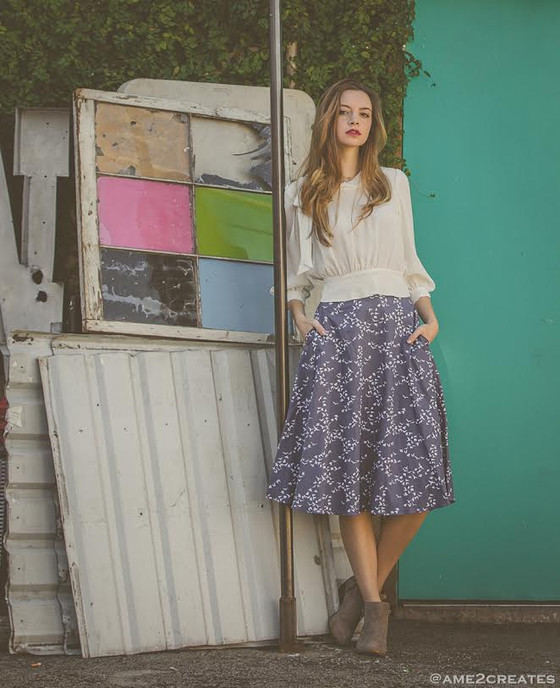 Organic cotton midi circle skirt with high waist and bird print.  Made in the USA by evangeline clothing.