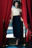 Black velveteen midi pencil skirt. Made in the USA by evangeline clothing.