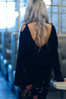 Sheer Black off-the-shoulder wool sweater top with a low cowl back and bell sleeves.  Made in the USA by evangeline clothing.