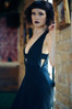 Anais Black Silk Maxi Dress with plunging neckline. Made in the USA by evangeline clothing.