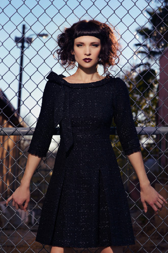 The Sylvie Boucle Pleated Dress
