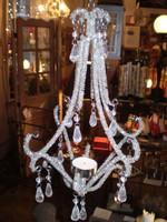 Danish Glittering Hanging Jewelled T-light Chandelier