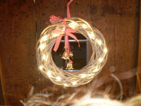 Swedish Style Rustic Led Light Christmas wreath with real jingling brass bells & baubles