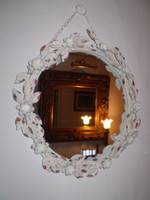 Vintage Chic style Oval Metal Rose Mirror