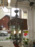 Ornate French Iron, Glass Art Nouveau style ceiling lantern chandelier, Lamp