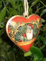 Stunning Vintage Santa heart hanging Christmas decoration.
