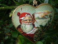 Seasonal Vintage Christmas Santa metal heart hanging decoration
