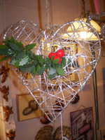 Danish Romantic Wirework hanging Heart Decoration,Wedding,Christmas