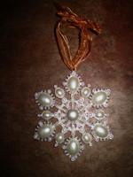 Danish Pearlised Snowflake Hanging Christmas Tree Decoration