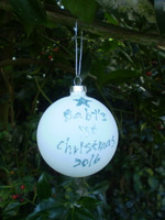 Gorgeous Frosted Glass Bauble with Blue Glitter words
