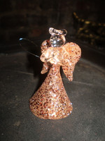 2 Gorgeous Danish glass crystal Angels smothered in Copper Glitter