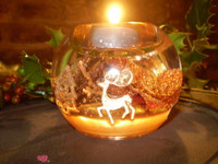 German Christmas Crystal Glass Frosted Rust Leaves Tea-lite holder  GR71470