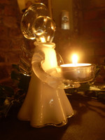 Stunning German Crystal Glass White Angel Tea Lite Holder.