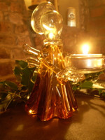 Stunning German Crystal Glass Amber Colour Angel Tea Lite Holder.