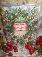 Traditional English Spirit of the Green Man Christmas,Yule Fairy card,Eco Friendly