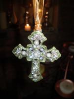 Danish Designed Crystal Christmas Crucifix Tree Hanging Decoration