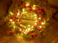 Gorgeous English Made Led Lite,Light Christmas Faux Berry Wreath,Fairy Lights