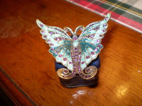 Gorgeous Danish Austrian Crystal Blue Butterfly Trinket Box,Jewellery,Gift for her