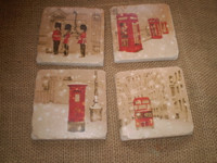 Set of 4 beautiful English vintage style London Christmas ceramic wine coasters