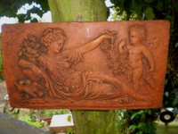Reclamation Vintage French Garden Terracotta Lady & Cherub Wall Plaque,Lovely Condition
