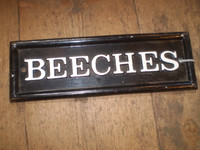 Vintage English Cast Iron House Sign BEECHES,Good Condition