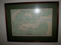 Vintage 1980's Framed Map of Tollesbury & The River Blackwater,Ideal for a Sailor.