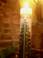 Danish Advent Candle, Christmas Tree Design plus candle stand, Calendar Pillar