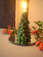 Danish Christmas Gift Set, Christmas Tree Candle & Bevelled Glass Mirror Plate