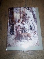 Gorgeous English Victorian Style Christmas,Yule Card,Little Angels & Baby Deer