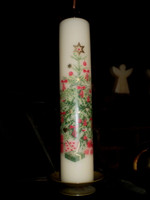 Danish Advent Pillar Candle, Retro Christmas Tree Design plus candle stand