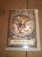 English Victorian Style Christmas, Yule Card, Noel Angel