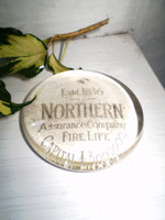 Late Victorian Glass Paperweight,Northern Assurance company,Gift for a Man