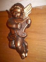 Gorgeous Ceramic wall hanging Cherub playing Harp, Copper colour