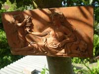 Vintage French Cherub & Maiden Art Nouveau Wall Plaque, Terracotta, Garden Reclamation