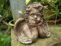 Vintage French Cherub Garden Statue, Architectural Salvage, Garden Reclamation