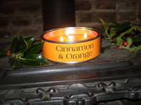 Luxury Christmas Cinnamon & Orange Triple Wick Scented Candle, English Hand Made