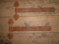 Vintage Pair Large French Door Hinges, Brackets, Cast Iron, 19th Century
