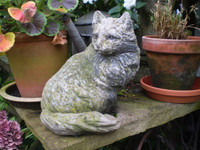 Vintage 1930's French Garden Cat Statue, Architectural Salvage, Reclamation
