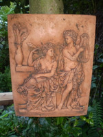 Vintage French Grecian Style Fired Clay Garden Wall Plaque, Architectural Salvage